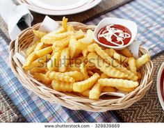 Tasty French fried with tomato sauce on lunch time   - stock photo