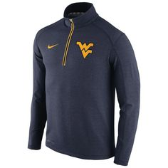 West Virginia Mountaineers Nike Football Coaches Sideline Half-Zip Tri-Blend Performance Knit Top - Navy