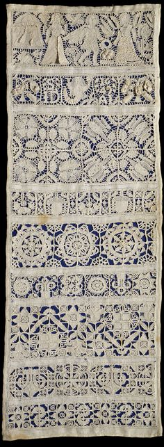 Sampler (1649) ~ Linen, embroidered with linen, with cutwork and drawn thread work ~ V & A Museum ~ This is a type of sampler known as a band sampler, and its decoration incorporates different types of whitework embroidery and needle lace stitches. With the composition of band samplers comes the first clear indication in England of the form being used as a method of instruction and practice for girls learning needlework.