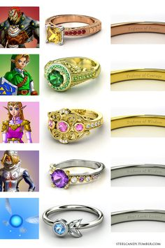 Zelda: 'The Triforce Holders' Engagement rings! Ganondorf Link Princess Zelda (Or) Sheik Bonus: Navi (made on gemvara.com by steel candy)