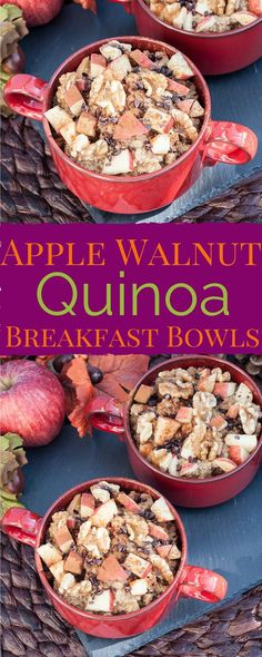 Apple Walnut Quinoa Breakfast Bowls. I'll have to give quinoa (keen-wah) a try this way. Gf Vegan