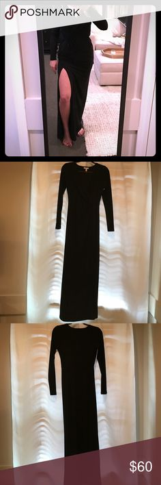 Long sleeve gown Black long sleeve v-neck gown with high leg slit on one side. Stretchy material, no zipper. Purchased from Nordstrom. Never worn. Leith Dresses Long Sleeve