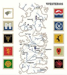 Map of Westeros cross stitch pattern Game of от RandomlyGenerated