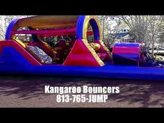 Bounce House Water Slide Rentals Tampa-Land O Lakes-Lutz.  Check out our great video of a block party in Westchase.  Our 40ft Obstalce Course Bounce House is perfect for the larger gatherings.  Kids and race thru the maze while the next set of kids wait for them to exit.  LIKE US on Facebook at  https://www.facebook.com/Kangaroo.Bouncers.FLand get a special discount off your next Bounce House Water Slide Rental.  http://www.KangarooBouncers.com