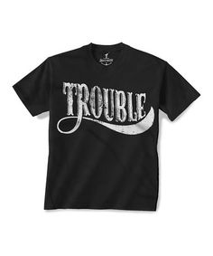 This Black 'Trouble' Tee - Toddler & Kids is perfect! #zulilyfinds