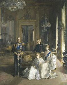 The Royal Family at Buckingham Palace, 1913 (King George V; Princess Mary, Countess of Harewood; Edward, Duke of Windsor; Queen Mary) by John Lavery Date painted: 1913 George Vi, Rei George V, English Royal Family, British Royal Families, British Family, Elizabeth Ii, Royal Family Portrait, Family Portraits, Papua Nova Guiné