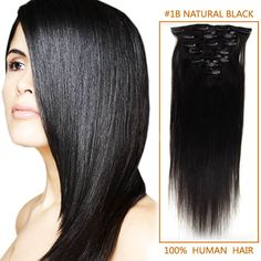 16 Inch 70g Clip In Human Hair Extensions #1B Natural Black 7 Pieces Only $17.95