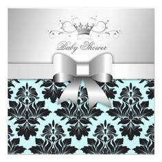 311-Blackberry Sweet Blue Damask Bow | Baby Shower Invite