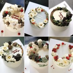 「 #ollichristmas #buttercream #flowercake #buttercreamflowercake #ollicake #olliclass #olligram #pinecone #cotton #berry #christmas #christmaswreath #wreath… 」