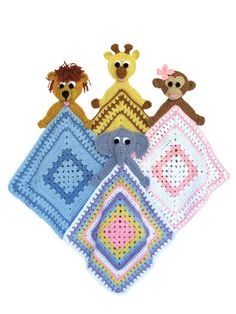 Pattern:  $7.99  Four little zoo animals: Gigi Giraffe, Chica Bonita, Eli Elephante and Lionardo. Each is attached to its own small blanket to comfort and watch over its precious little recipient.