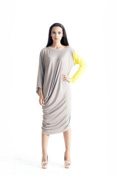 Asymmetrical Tunic Dress / Kaftan / Off Shoulder Dress / Maxi Blouse/ Grey Yellow Sleeve  A03052