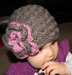 Crocheted brown beanie with a big flower baby girl's by Seuphoria