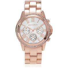 Journee Collection Women's Rhinestone Accent Roman Numeral Link Watch featuring polyvore, fashion, jewelry, watches, pink, pink watches, roman numeral watches, pink dial watches, rhinestone watches and crown jewelry