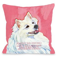 Doggy Décor American Eskimo Throw Pillow