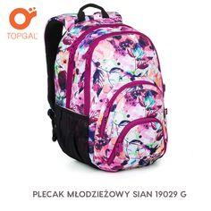 Plecak Topgal w energetycznych kolorach i motywem w liście i kwiaty.