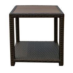 """American Patio - All Weather Wicker - Espresso - Modern - Outdoor End Table (End Table - 18.11H x 18.11""""W x 18.11""""D), Black, Patio Furniture (Recycled Lumber)"""