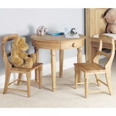 Jayden Oak Bedroom Furniture Childrens Table and Chairs Set