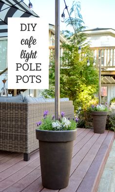 Backyard String Lights, Poles For Outdoor Lights, Outdoor String Lighting, Hanging Lights On Patio, Lights On Deck, How To Hang Patio Lights, Pot Lights, Backyard Lighting, Solar Lights