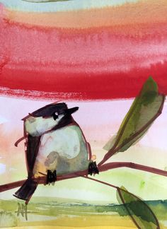 Chickadee no. 893 Original Watercolor Bird Painting by Angela Moulton 5 x 7 inch with 8 x 10 inch White Mat by prattcreekart on Etsy