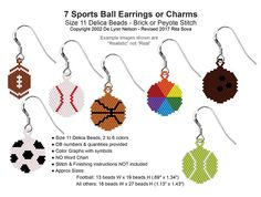 7 Sports Ball Earrings or Charms | Bead-Patterns