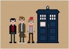 Ninth, Tenth, Eleventh Doctor cross stitch PDF pattern $5 on etsy.