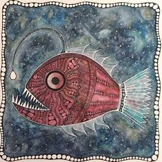 Still working out a few details on the eye and tail fin but mostly done #anglerfish #watercolor #ink #goldenacrylics #oceanart #deepsea #pattern #fish #sealife #scaryfish #artwork #instaart #danielsmith #windsorandnewton #artnerd #artfido #tribalart #artcomplex