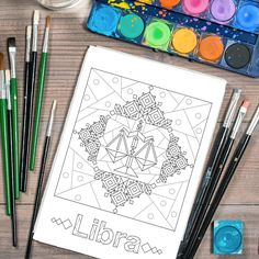 Adult Coloring Page, Printable Adult Coloring Book Page, horoscope coloring page, libra zodiac sign, Digital Illustration by Lepetitchaperon on Etsy