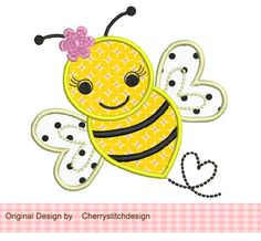 Bumble Bee Applique -4x4 5x7 6x10-Machine Embroidery Applique Design by CherryStitchDesign on Etsy https://www.etsy.com/listing/110523450/bumble-bee-applique-4x4-5x7-6x10-machine