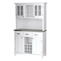 Wood china cabinet in white with 4 doors and 3 utility drawers.   Product: China cabinetConstruction Material: ...