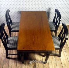 Barbie Furniture Set Dining Table Chairs OOAK Black Gingham Real Wood