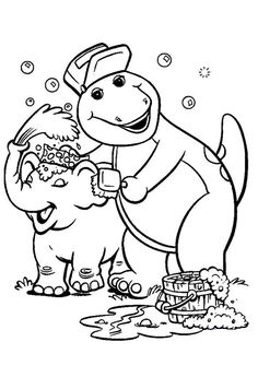 Barney Children Bathe Elephant Coloring Pages For Kids Printable