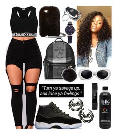 A fashion look from December 2017 featuring distressed jeans, mcm backpack and bamboo earrings. Browse and shop related looks. Swag Outfits For Girls, Cute Swag Outfits, Girly Outfits, New Outfits, Stylish Outfits, Fashion Outfits, Freshman Outfits, Teenager Outfits, Red And Black Outfits