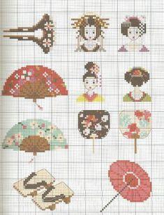0 point de croix eventail et accessoires japonais - cross stitch japanese accessories fashion