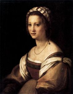 Portrait of a Woman by Andrea del Sarto (Florence, Italy, ~ ca. 1514 ~ Museo Nacional del Prado ~ Andrea del Sarto was an Italian painter from Florence, whose career flourished during the High Renaissance and early Mannerism. Portrait Renaissance, Renaissance Paintings, Renaissance Fashion, Italian Renaissance, Renaissance Art, Italian Painters, Italian Artist, Classic Paintings, Michelangelo