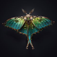 Juwel moth by Melaamory on DeviantArt Beautiful Bugs, Beautiful Butterflies, Arte Steampunk, Arte Fashion, Bijoux Art Nouveau, 3d Fantasy, Art Anime, Bugs And Insects, Art Reference