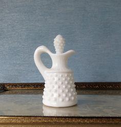 Fenton Hobnail Cruet / Milk Glass Cruet /