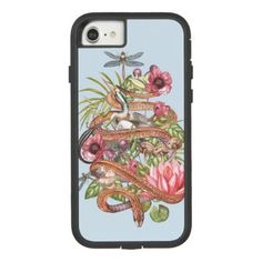 Botanical illustration of swamp theme with a snake Case-Mate tough extreme iPhone 8/7 case - personalize cyo diy design unique