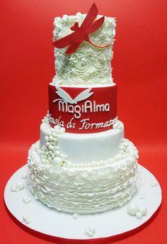 White & Red Cake - by Lucia Busico @ CakesDecor.com - cake decorating website