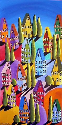 Colorful Hills Houses Fun Whimsical Colorful by reniebritenbucher,