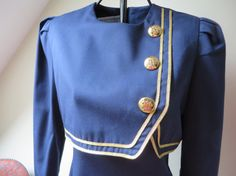 Jessica Howard Navy Dress W/Gold Trim by PaperDollLLC on Etsy, $22.00