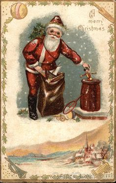 A Merry Christmas - Santa Putting Toys in Chimney