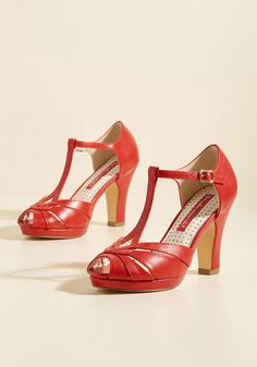 Take Your Dances Heel in Candy Apple, @ModCloth