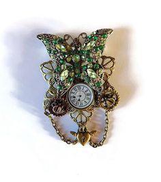 broche papillon vert style steampunk artisanal : Broche par mamiechantal-screations