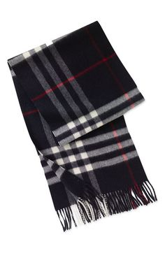 Scarf.Burberry Heritage Check Cashmere.Navy