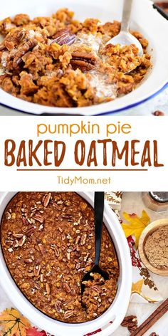 This Baked Pumpkin Pie Oatmeal has all the warm flavors of pumpkin pie in a quick and easy breakfast idea. Transform ordinary oatmeal into something special on cold mornings. Breakfast doesn't get much easier or more delicious. Print the full recipe at Baked Pumpkin Oatmeal, No Bake Pumpkin Pie, Pumpkin Carving, Oatmeal Pie, Baked Oatmeal Recipes, Oatmeal Cups, Oatmeal Flavors, Baked Breakfast Recipes, Autumn Breakfast Recipes