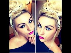 Pin up hair & Makeup tutorial & Pink Ombre Lipstick - YouTube