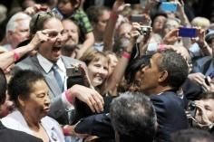 Just A Casual Obama Fan In This Picture: Photo of Obama and fan