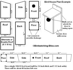 Bird house plans, and tutorial videos along with other helpful information.