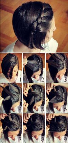 Penteado: Trança na frente do cabelo, puxada para trás