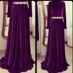 Gönül Kolat Kloş mor elbise modeli